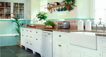 freestanding kitchen sinks in white and blue kitchen