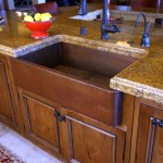 freestanding kitchen sinks with oak wood cabinet