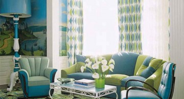 fresh retro living room ideas in blue and green