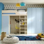 funky bunk beds with lower half as desk