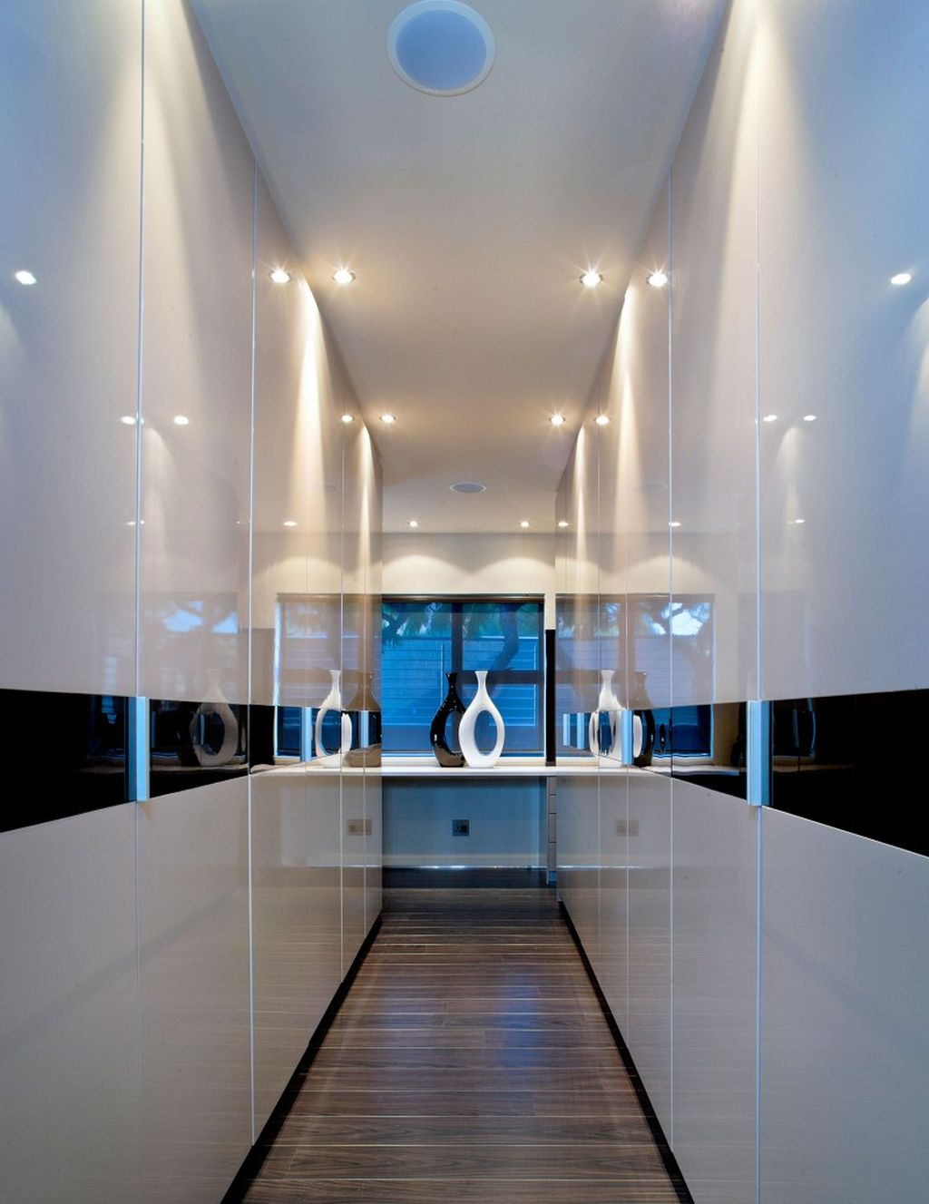 Futuristic In Blue And White Modern Hallway Decorating Ideas