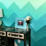 geometric waves in blue cool painting ideas for bedrooms