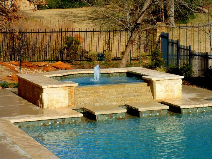 geometric with raised and separated jacuzzi pool with spa designs