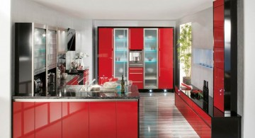 gloss black and red lacquer kitchen cabinet