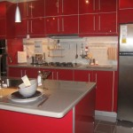 glossy red lacquer kitchen cabinet for small kitchen