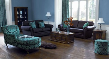 gorgeous blue and brown living room