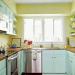 green and blue popular paint colors for kitchen with limited space