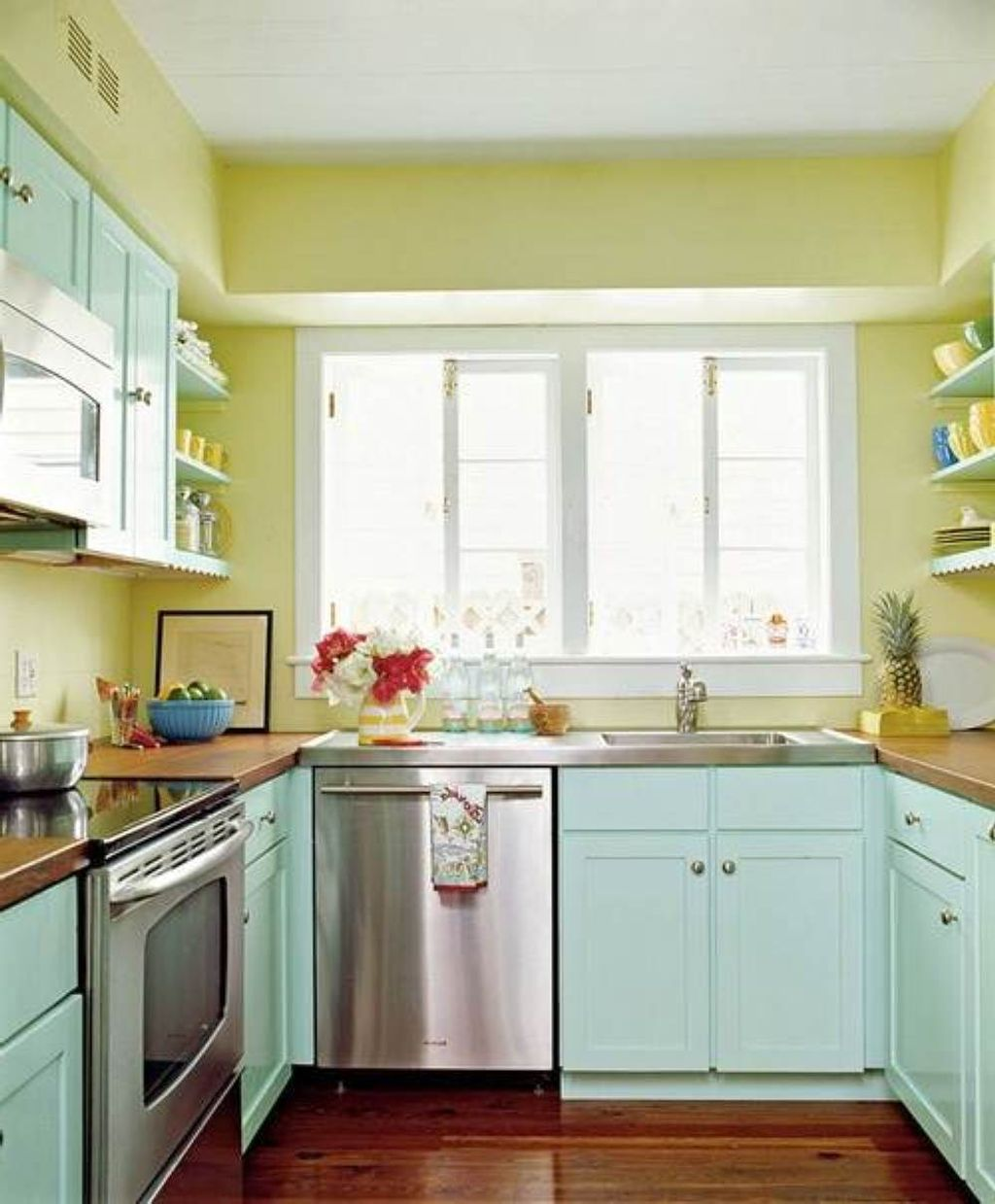 green and blue popular paint colors for kitchen with