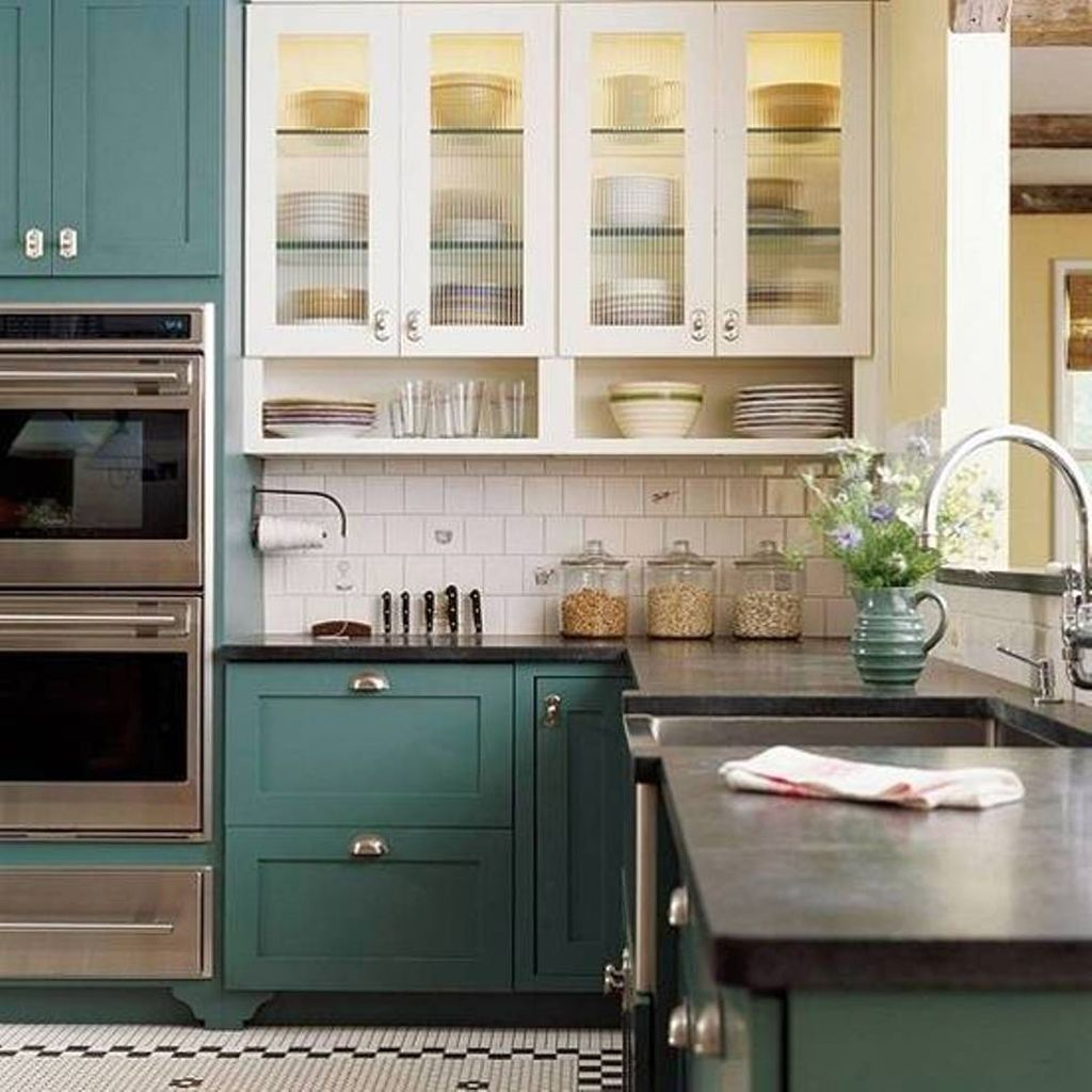 Favorite Kitchen Cabinet Paint Colors: Green Cabinet Popular Paint Colors For Kitchen