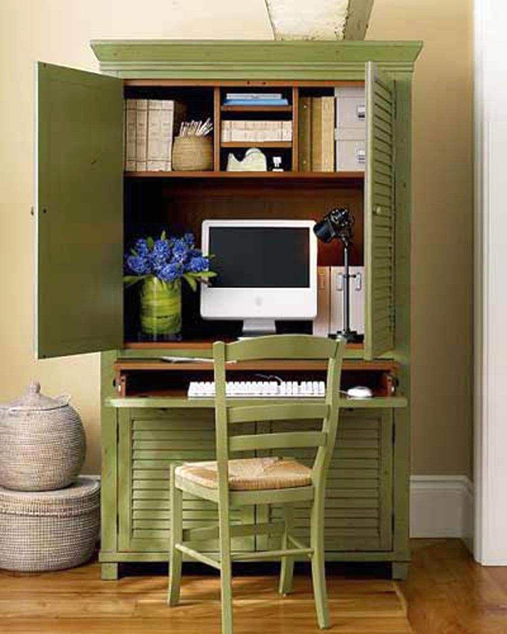 Home Office Design Ideas Basement: Green Cupboard Home Office Design Ideas For Small Spaces