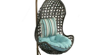 half egg bedroom swing chair with blue cushion