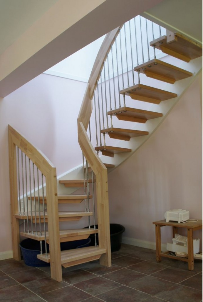 half spiral wooden stairs 691x1024 - View Staircase Design For Small House  Images