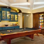 hang out room ideas with billiard table and bookshelf