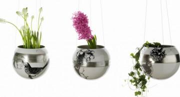 hanging flower vase silver bowls