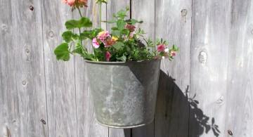 hanging flower vase using old bucket