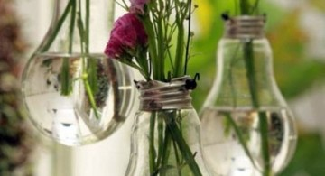 hanging flower vase using old unused lightbulbs