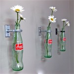 hanging flower vase with coca cola bottles