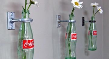 hanging flower vase with coca cola bottles