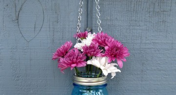 hanging flower vase with old jar