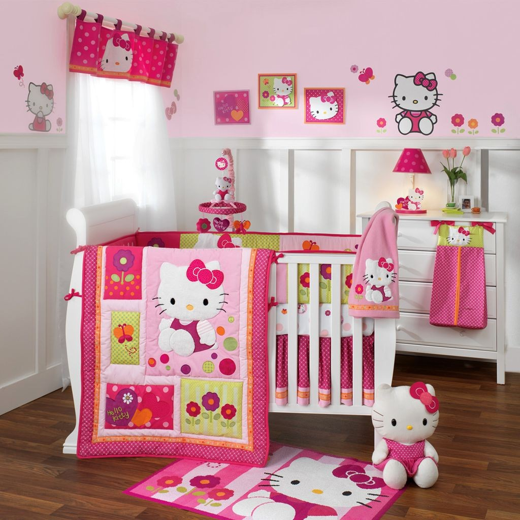 hello kitty themed cute baby girl bedding ideas