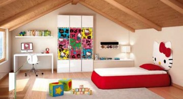 hello kity girls bedroom designs for attic room