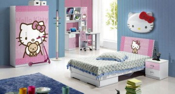 hello kity girls bedroom designs in blue and pink