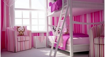 hello kity girls bedroom designs with bunk beds