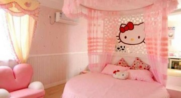 hello kity girls bedroom designs with canopied round bed