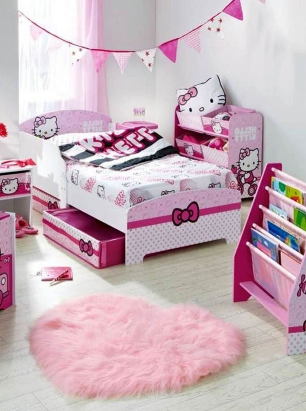 hello kity girls bedroom designs with smart storage bed for small rooms