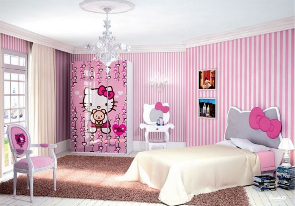 hello kity girls bedroom designs with striped wallpapers