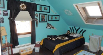 hockey bedrooms with unique lamp shade