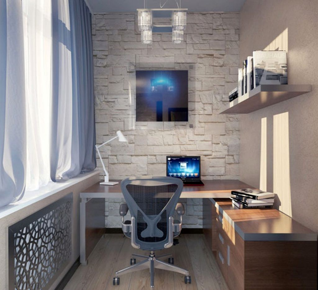 home office design ideas for small spaces with floating shelf - Small Home Office Design