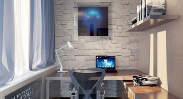home office design ideas for small spaces with floating shelf