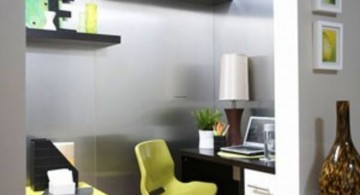 home office design ideas for small spaces with small chair and floating shelves