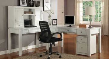 home office design ideas for small spaces with white minimalist furnitures