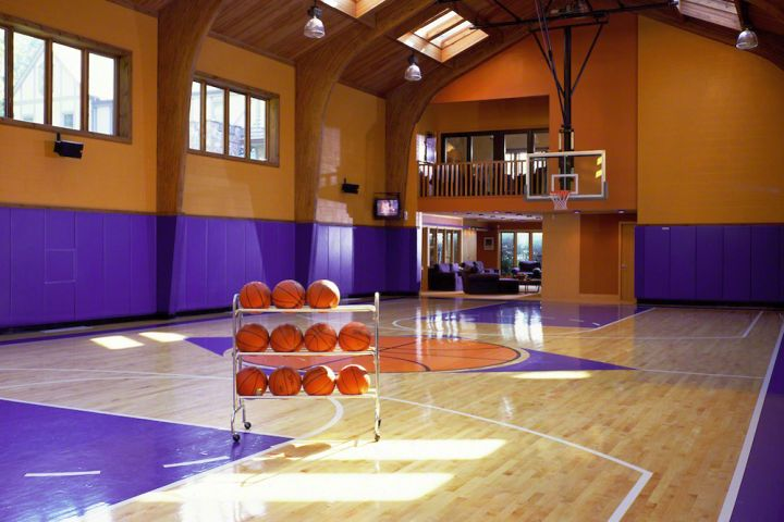 19 modern indoor home basketball courts plans and designs for Cost to build indoor basketball court