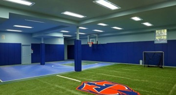 indoor home basketball courts in the basement