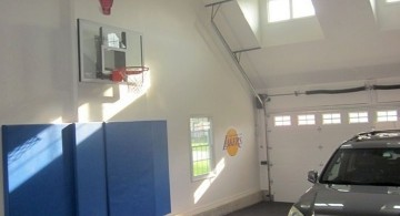 indoor home basketball courts that also a garage