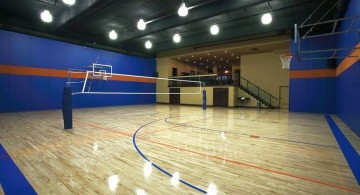 indoor home basketball courts with attached dining room