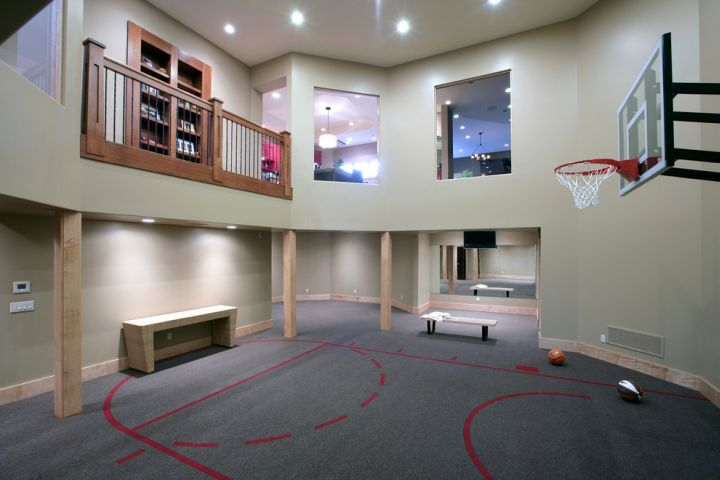 indoor home basketball courts with indoor balcony