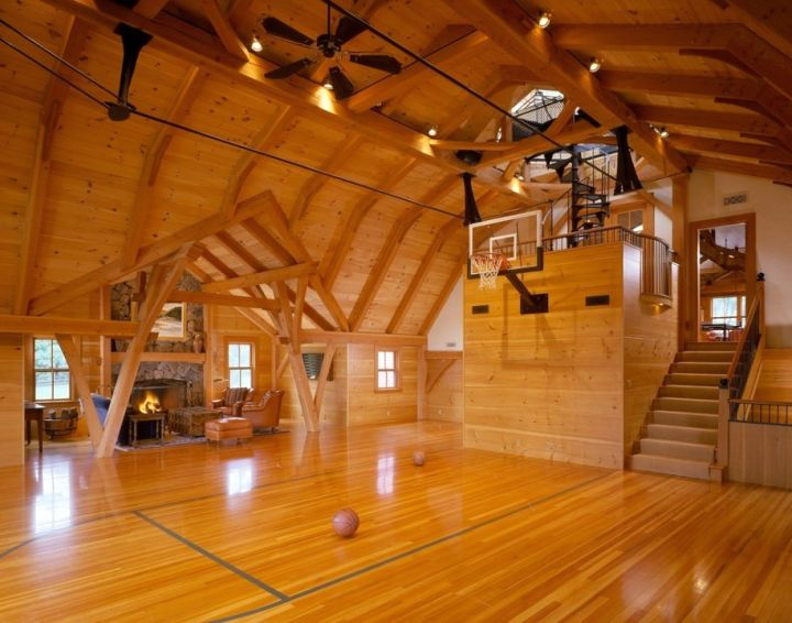 19 modern indoor home basketball courts plans and designs for Homemade basketball court