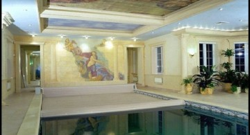 indoor swimming pool designs with renaissance paintaings on ceiling and wall