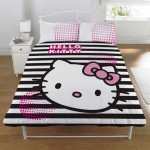 industrial and minimalist hello kity girls bedroom designs in black and white