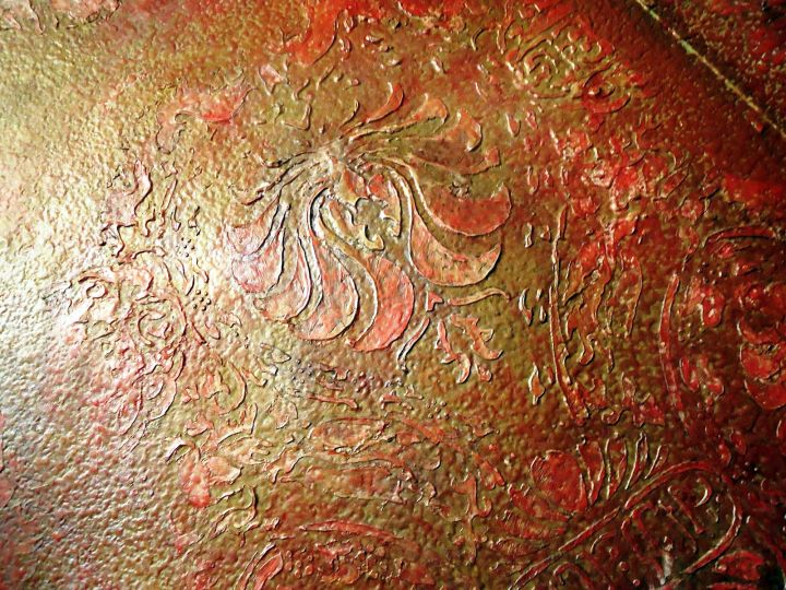 interior textured wall designs in red and orange - Textured Wall Designs