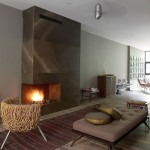 japanese inspired living room with contemporary fireplace