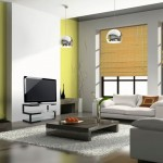 japanese inspired living room with yellow wall and bamboo curtains