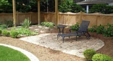 japanese style backyard with garden chair