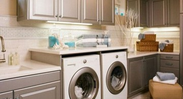 khaki colored small laundry room designs