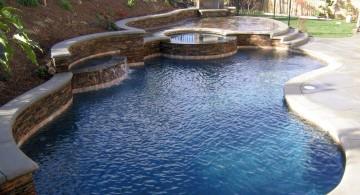 kidney Backyard pool designs with jacuzzi