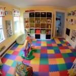 kids playroom design ideas through fish eye lens